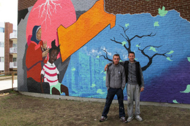 The mural, painted by the artists Arnaud Grégoire and Cyril Blanchard, is located at the Place Normandie housing complex. (CNW Group/OFFICE MUNICIPAL D'HABITATION DE MONTREAL)