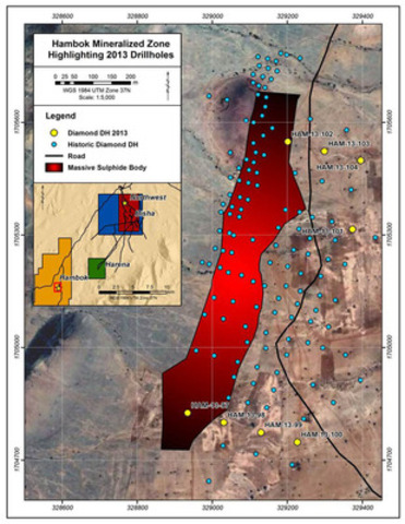 Hambok Mineralized Zone Highlighting 2013 Drillholes (CNW Group/Nevsun Resources Ltd.)
