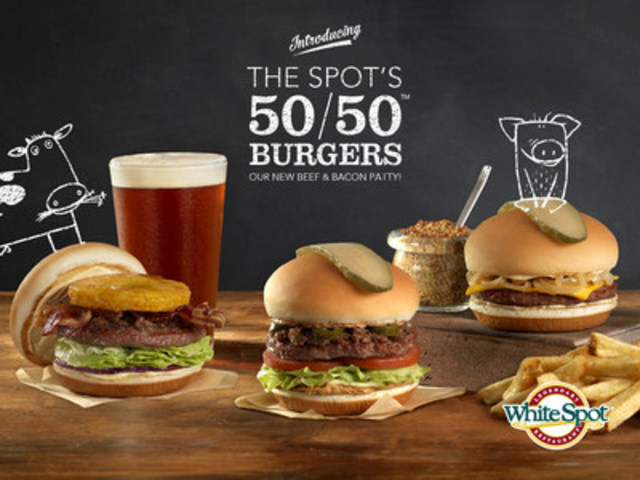 White Spot's new 50/50 burger lineup features a 1/3-pound patty that combines Canadian beef & premium  ...