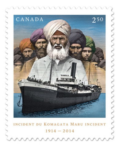 Canada Post's new international-rate commemorative stamp marks the 100th year anniversary of the Komagata Maru incident and features an artistic rendition of images from a small collection of archive photos. (CNW Group/Canada Post)
