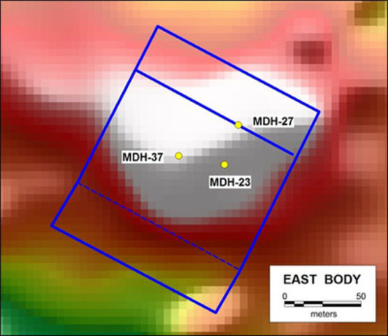 Figure 5. East Body magnetic model (blue frame), RTP ground magnetic image and location of the first three completed vertical drill holes. (CNW Group/RTG Mining Inc.)