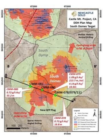 Castle Mt. Project, CA, DDH Plan Map, South Domes Target (CNW Group/NewCastle Gold Ltd.)