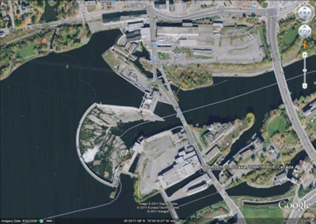Vue aérienne actuelle du site Ottawa-Gatineau de Domtar. (Groupe CNW/Domtar Corporation)