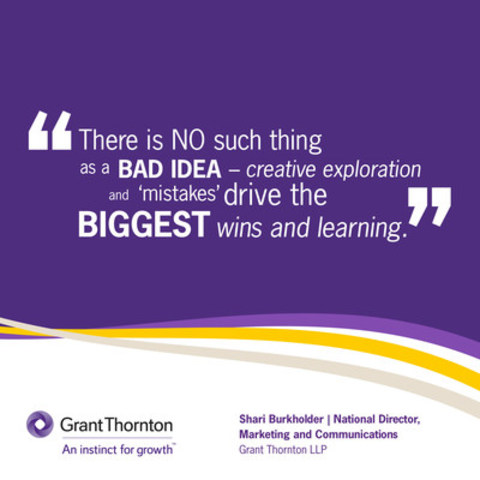 Shari Burkholder, National Director, Grant Thornton LLP, shares inspirational reflection in new social media campaign #GTInspires, in recognition of #IWD2016. (CNW Group/Grant Thornton LLP)