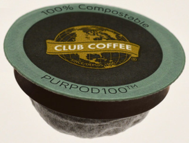 PurPod100(TM) is the world's first BPI certified, 100% compostable single-serve pod for coffee, tea and other hot beverages, and is compatible with most Keurig(R)-style brewing systems. (CNW Group/Club Coffee)