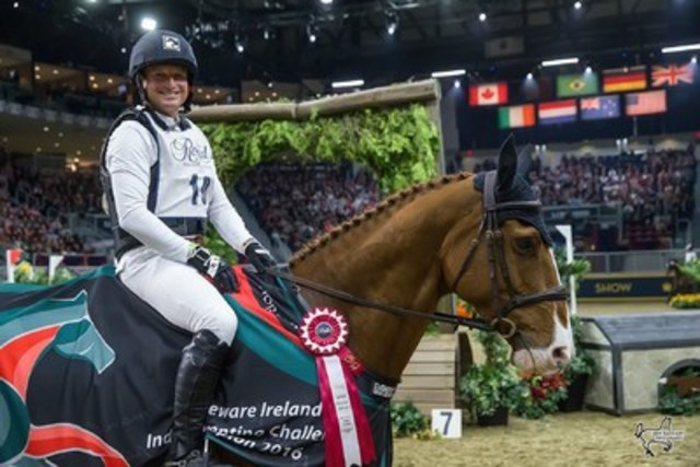 Germany's Michael Jung celebrates victory in front of a full house at the Royal Horse Show, held as part of the 94th Royal Agricultural Winter Fair.  Photo by Ben Radvanyi Photography (CNW Group/Royal Agricultural Winter Fair)