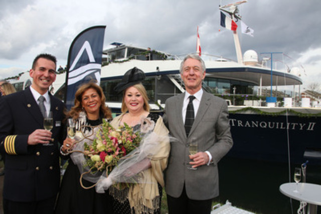 Canadian music legend and new ship godmother Jann Arden, third from left, is joined by Avalon Waterways' captain Milos Laskovich, managing director for Canada Stéphanie Bishop and president and managing director Patrick Clark in Strasbourg, France for the christening of the Avalon Tranquility II. (CNW Group/Avalon Waterways)