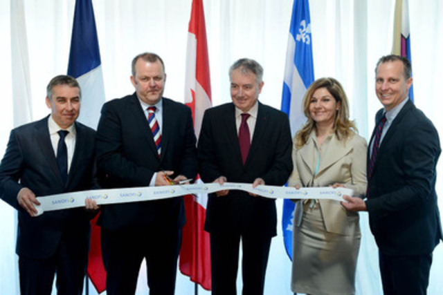 Photo from inauguration of new Sanofi Canada corporate headquarters, from left to right, Nicolas Marceau, Quebec Minister of Finance and the Economy, Jon Fairest, President and CEO, Sanofi Canada, His Excellency Philippe Zeller Ambassador of France to Canada, Franca Mancino, Vice-President, Medical and Regulatory Affairs, Sanofi Canada and Alexandre Duplessis, Mayor of Laval. (CNW Group/SANOFI)