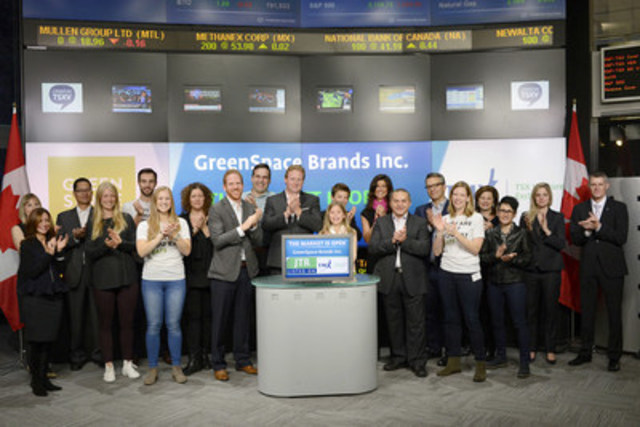 Matthew Von Teichman, CEO, GreenSpace Brands Inc. (JTR) joined Tim Babcock, Director, Listed Issuer Services, TSX Venture Exchange to open the market. GreenSpace Brands develops, markets and sells convenience natural food products to consumers across Canada. GreenSpace's original brand, 'Life Choices' features convenience meat products made with a variety of combinations of grass fed and pasture raised meats. GreenSpace Brands Inc. commenced trading on TSX Venture Exchange on May 4, 2015. For more information please visit www.greenspacebrands.ca. (CNW Group/TMX Group Limited)