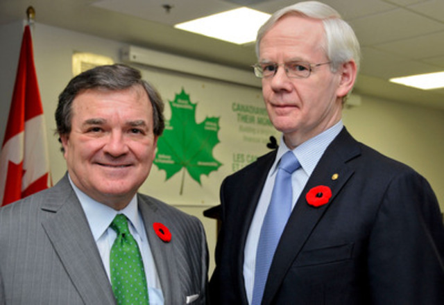 The Honourable Jim Flaherty, Minister of Finance, and Donald Stewart, Chair of the Task Force on Financial ...