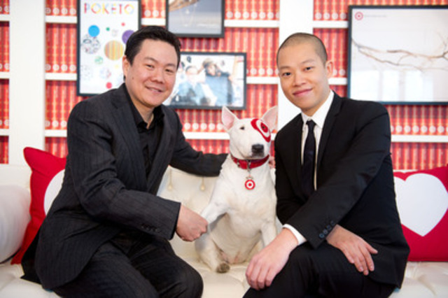 John Morioka, Senior Vice President of Merchandising for Target Canada, Bullseye and Jason Wu take a ...