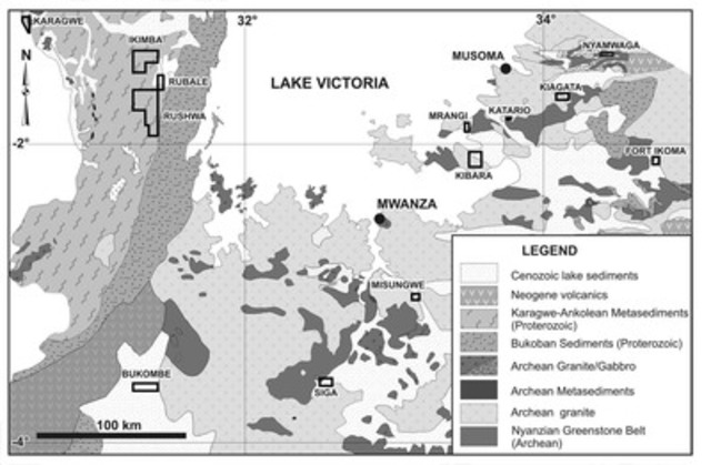 Location of Tanzania Mineral Corporation's licences in the Lake Victoria area mentioned in the text. (CNW Group/Tanzania Minerals Corp)