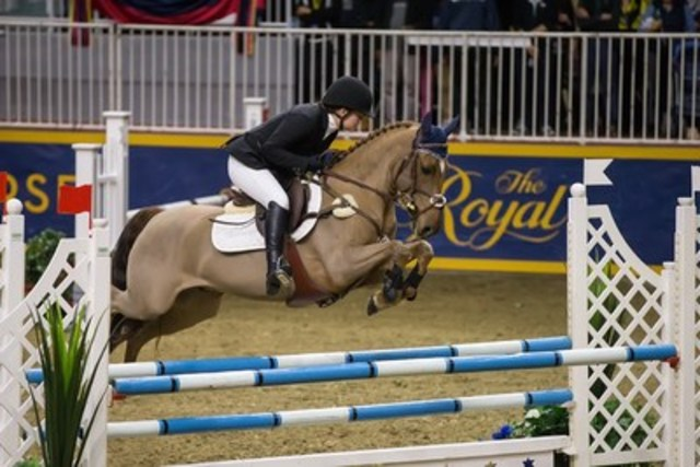 In front of a hometown crowd, Laura Robertson of Toronto, ON, claimed the $5,000 Royal Pony Jumper Final, presented by William Tilford and Marion Cunningham of Marbill Hill Farm on Sunday, November 15, at the Royal Horse Show®. (CNW Group/Royal Agricultural Winter Fair)