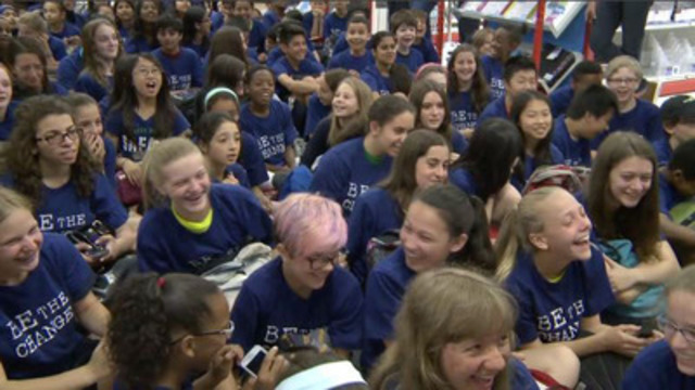 VIDEO: JRDN surprised hundreds of students at Staples for Me to We school supplies launch