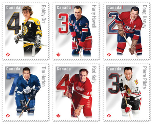 New stamp collection featuring Original Six Defencemen Bobby Orr (Boston Bruins®), Tim Horton (Toronto Maple Leafs®), Pierre Pilote (Chicago Blackhawks®), Red Kelly (Detroit Red Wings®), Doug Harvey (Montreal Canadiens®), and Harry Howell (New York Rangers®).  (CNW Group/Canada Post)