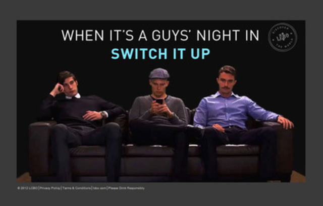 "The opening page for www.switchitup.ca featuring our three ""guys"" looking to switch it up on their guys ' night in. (CNW Group/LCBO)"