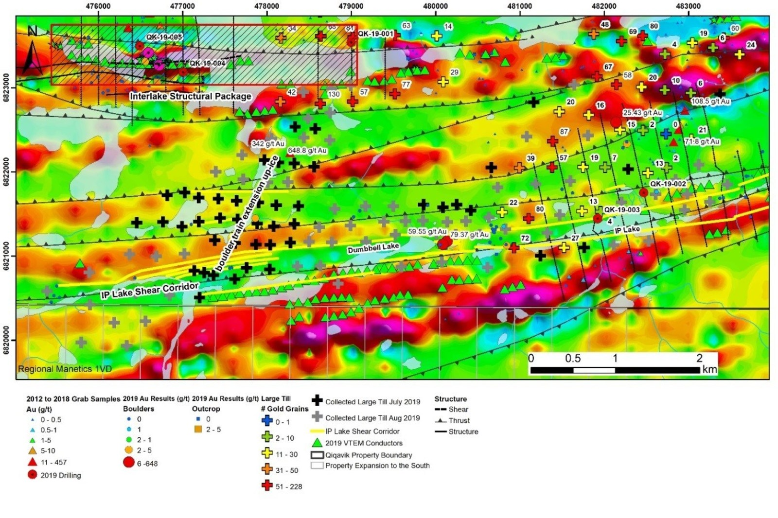 Figure 2: Interlake Structural Package and IP Lake Shear Corridor. Ice direction is SW to NE