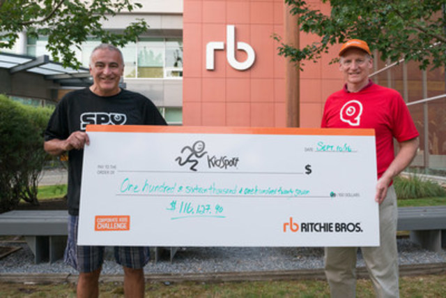 Ritchie Bros.' 7th annual Corporate Kids Challenge helped raise $516,000+ for KidSport B.C., including a $400,000 donation from the Province of B.C. (CNW Group/Ritchie Bros. Auctioneers)