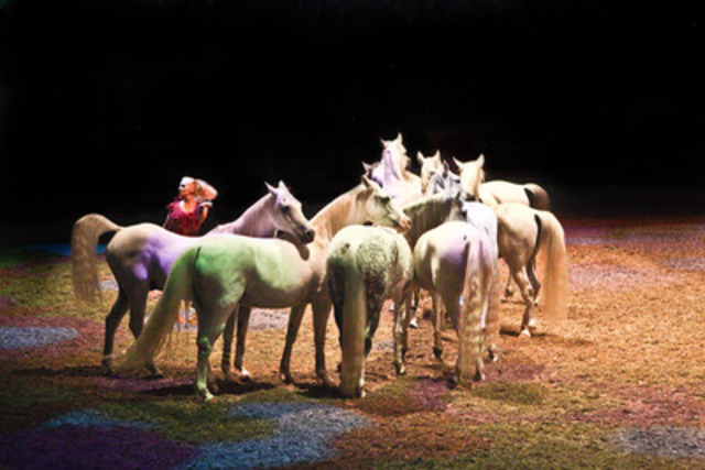 """Sylvia Zerbini, formerly of Cavalia, brings her """"Liberte"""" act to the Royal Horse Show tomorrow and Saturday. Photo Credit: Ben Radvanyi (CNW Group/The Royal Agricultural Winter Fair)"""