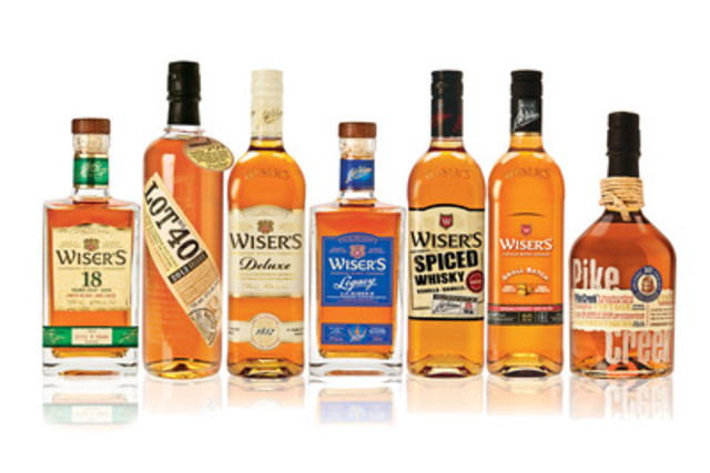 Wiser's 18 Year Old, Lot No. 40, Wiser's Deluxe, Wiser's Legacy, Wiser's Spiced, Wiser's Small Batch, Pike Creek (Groupe CNW/Distilleries Corby Limitée)