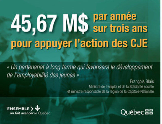 Le gouvernement du Québec et les carrefours jeunesse-emploi concluent une entente-cadre pour aider les jeunes à intégrer le marché du travail (Groupe CNW/Cabinet du ministre du Travail, de l'Emploi et de la Solidarité sociale)