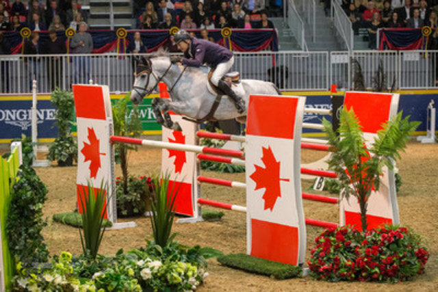 Mac Cone captured the Reserve Championship title aboard Gasper van den Doorn for owner Chadburn Holdings, Inc. in the $100,000 Greenhawk Canadian Show Jumping Championship (CNW Group/Royal Agricultural Winter Fair)