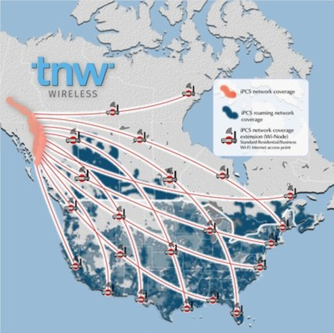 TNW Wireless North American Coverage Area (CNW Group/TNW Networks Corp.)