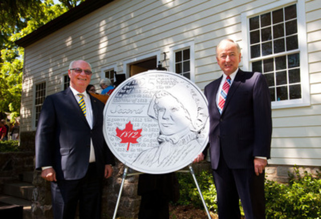 From left to right: Royal Canadian Mint Chair James B. Love and the Honourable Rob Nicholson, P.C., Q.C., Member of Parliament for Niagara Falls, Minister of Justice and Attorney General of Canada unveiled the new 25-cent circulation coin honoring War of 1812 heroine Laura Secord at the Laura Secord Homestead in Queenston, Ontario (June 21, 2013). (CNW Group/Royal Canadian Mint)