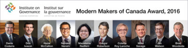 Modern Makers of Canada Awards, 2016: Celebrating Canadian Municipal Leaders (CNW Group/Institute on Governance)