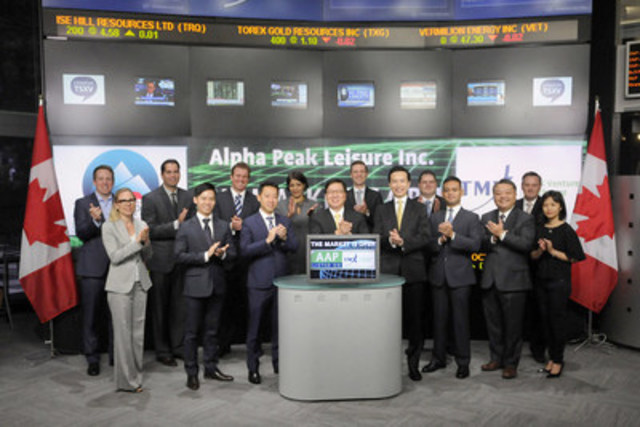 Kenneth Poon, CEO, Alpha Peak Leisure Inc. (AAP) joined Priya Patil, Head, Global Diversified Industries, TMX Group to open the market. Alpha Peak Leisure Inc. via its subsidiary Total Wonder Enterprise has operating and development rights for Swallows' Gully, a  national scenic spot in the Ganzi Tibetan Autonomous Prefecture in Sichuan, China. Alpha Peak Leisure Inc. (AAP) commenced trading on TSX Venture Exchange on July 2, 2015. (CNW Group/TMX Group Limited)