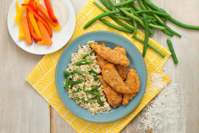 Crispy Baked Chicken Fingers with Coconut Rice — recipe courtesy of UNCLE BEN'S® (CNW Group/UNCLE BEN'S® Canada)