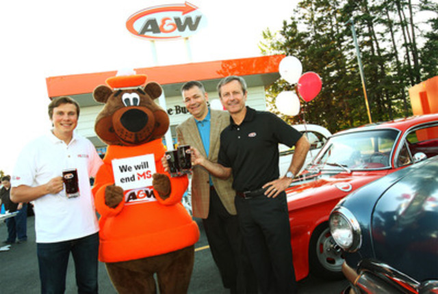 A&W and the Multiple Sclerosis Society of Canada raised more than $1 million to help end MS during national Cruisin' for a Cause Day, on Thursday, August 25. (From left) Andrei Sedoff, MS Society National Inspiration Champion; Paul Hollands, President and CEO, A&W Food Services of Canada; and Yves Savoie, President and CEO, Multiple Sclerosis Society of Canada were joined by the Great A&W Root Bear® at one of their many stops as they toured the country in support of Cruisin' for a Cause Day. (CNW Group/A&W Food Services of Canada Inc.)