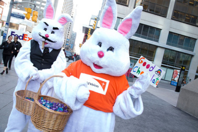 The World Vision Bunny and the Bitter Chocolate Bunny raise awareness of child labour in the cocoa industry as part of World Vision's No Child for Sale campaign on April 1, 2015 in Toronto, ON.  (CNW Group/World Vision Canada)