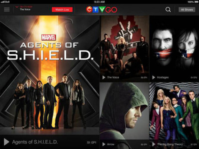 With a sleek design and superior user experience, CTV GO enables viewers to set their TV viewing experience free. (CNW Group/Bell Media) (CNW Group/CTV GO)