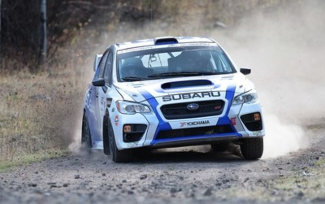 Subaru Rally Team Canada wins the 2015 Pacific Forest Rally in their Rocket Rally-prepared Subaru WRX STI. ©2015 Rocket Rally Racing by Philip Ericksen/Radikal Videos. (CNW Group/Subaru Canada Inc.)