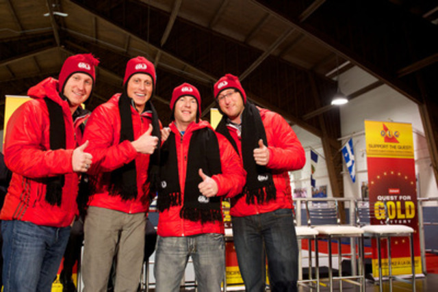 Canada's Men's Olympic Curling Team, Team Jacobs, composed of Brad Jacobs, E. J. Harnden, Ryan Fry and Ryan Harnden show off their team spirit as recipients of Quest for Gold funding. The provincial government's Quest for Gold program is funded by proceeds from OLG's lottery game, INSTANT QUEST FOR GOLD CROSSWORD. (CNW Group/OLG)