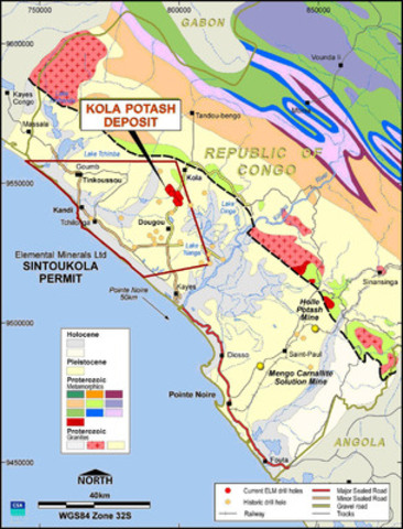 Figure 1: Location of Sintoukola Potash Permit and historic drill hole locations. (CNW Group/Elemental Minerals Limited)