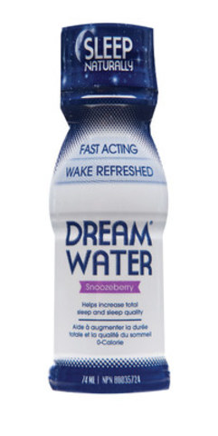 Dream Water, the fast acting, non-prescription liquid sleep aid that helps you sleep naturally, hits Canadian shelves this month at grocery, pharmacy, natural health and convenience stores nationwide. Dream Water is available in a single serve bottle and should be taken 30 minutes before bed. www.dreamwatercanada.ca (CNW Group/Dream Water Canada)
