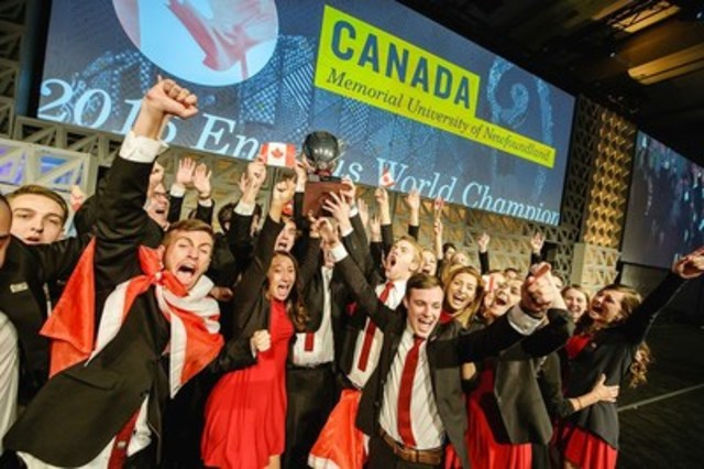 Students from World Champion Team Canada Celebrate at Enactus World Cup 2016 in Toronto. (CNW Group/Enactus)