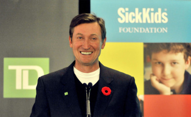 Wayne Gretzky assists SickKids in celebrating TD employees' $15 million donation milestone during an event in Toronto, November 9, 2011. TD employees have been fundraising for SickKids since 1994 through TD's support of Children's Miracle Network. (CNW Group/SickKids Foundation)