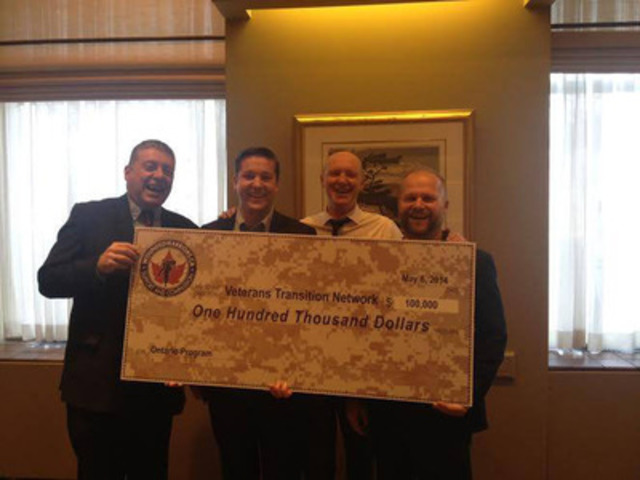 (L-R): Phil Ralph, Wounded Warriors Canada National Program Director; Tim Laidler, Veterans Transition Network Executive Director; Scott Maxwell, Wounded Warriors Canada Executive Director; Chris Linford, Wounded Warriors Canada National Ambassador (CNW Group/Wounded Warriors Canada)