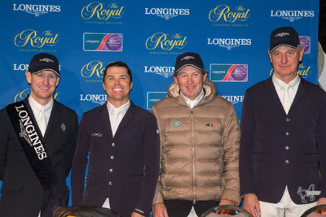 From left to right: McLain Ward, Kent Farrington, Nick Skelton, and Mac Cone following the $130,270 Longines FEI World Cup™ Jumping Toronto at the the CSI4*-W Royal Horse Show. Photo by Ben Radvanyi Photography (CNW Group/Royal Agricultural Winter Fair)