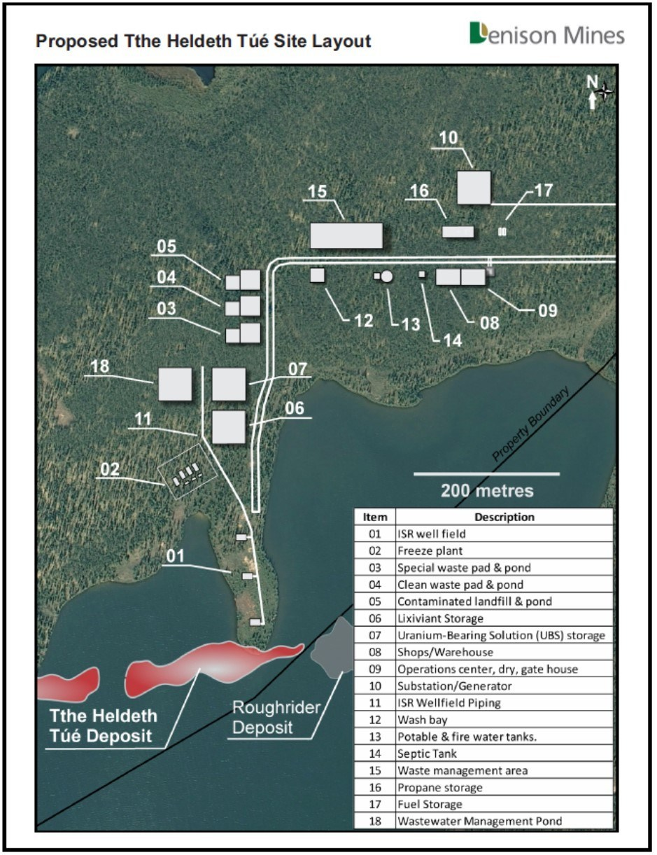 Figure 2 Proposed Tthe Heldeth Túé Site Layout (CNW Group/Denison Mines Corp.)