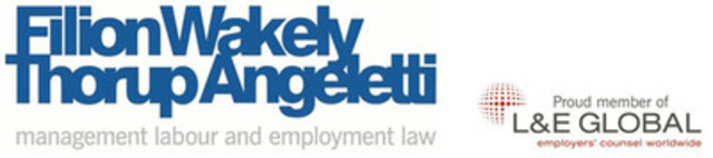 Filion Wakely Thorup Angeletti LLP is one of Canada's leading law firms specializing in labour relations and employment law on behalf of management. The firm's 37 lawyers advise and represent public and private sector employers in all matters relating to the employment relationship. (CNW Group/Filion Wakely Thorup Angeletti LLP)