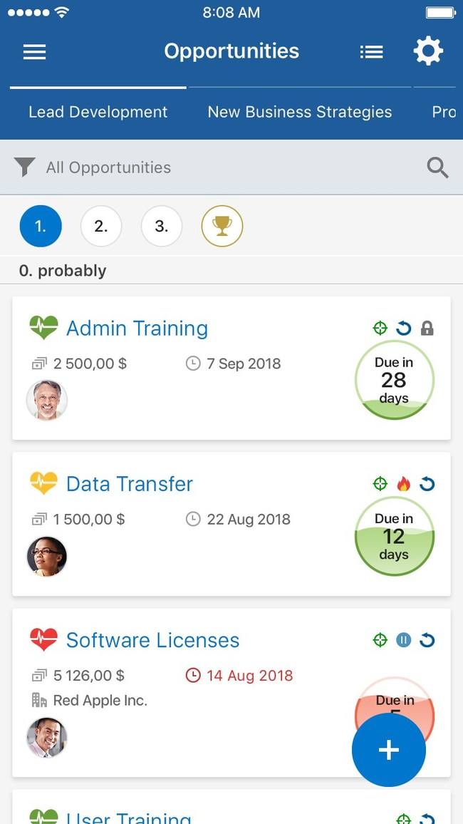 Pipeliner CRM Mobile: Opportunity Review Screen