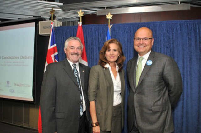 L to R: New Democrat Michael Prue, Liberal Sandra Pupatello and PC Party candidate Rocco Rossi square off at the all candidates meeting on financial services (CNW Group/Toronto Financial Services Alliance)