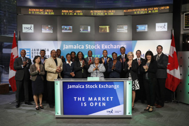 Marlene Street Forrest, General Manager, Jamaica Stock Exchange (JSE) joined Ungad Chadda, President, Capital Formation, Equity Capital Markets, TMX Group to open the market. Representatives of the Jamaica Stock Exchange will visit Toronto from May 20 – 27, on an International Roadshow and Knowledge Exchange Visit. While here, the JSE will host town hall meetings to network, build partnerships and discuss opportunities in Jamaica. For more information, please visit https://www.jamstockex.com/ (CNW Group/TMX Group Limited)