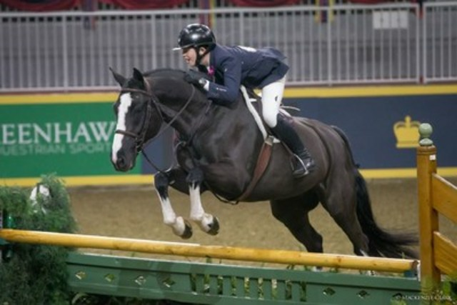 Sam Walker, 14, of Nobleton, ON, finished second in the $15,000 Braeburn Farms Hunter Derby riding Heavenly. Photo by Mackenzie Clark (CNW Group/Royal Agricultural Winter Fair)