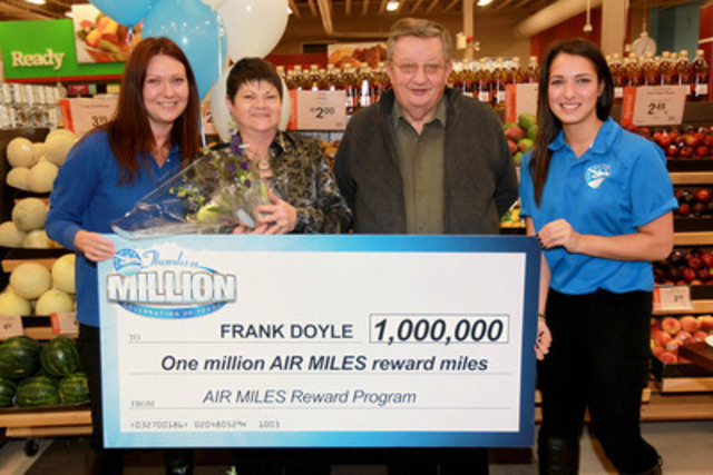 The AIR MILES Reward Program congratulates Frank D., 67 (with wife, Noreen, 64) of Lower Sackville, Nova Scotia on winning one million AIR MILES reward miles in the Thanks A Million contest. (CNW Group/AIR MILES Reward Program)