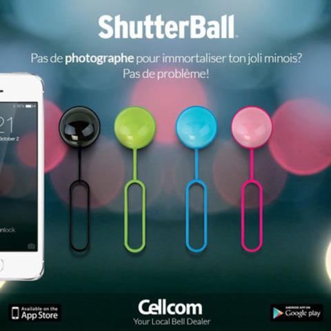 La Shutterball télécommande l'obturateur de votre téléphone cellulaire. Visitez toutes ses applications pratiques : selfie, simplicité, légèreté, aspect pratique et exploit sportif. Malgré sa petite taille pratico-pratique, elle a assez de personnalité pour se démarquer du lot! Disponible en 4 couleurs tendance. (Groupe CNW/Cellcom Communications)